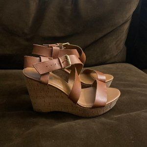 Brown Strap Wedges